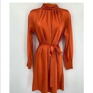 DVF silk dress, detachable belt, mock neck